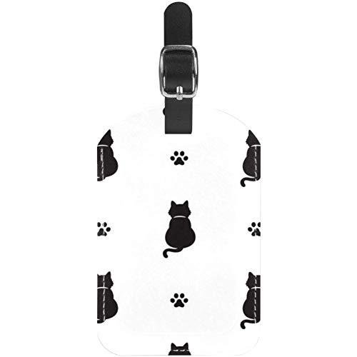 Kofferanhänger Katze und Pfotenabdrucke, Leder, 1 Packungen