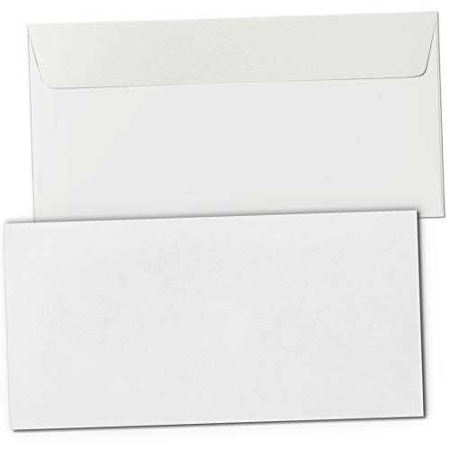 50 Briefumschläge Alt-Weiss DIN LANG ohne Fenster hell-beige selbstklebend