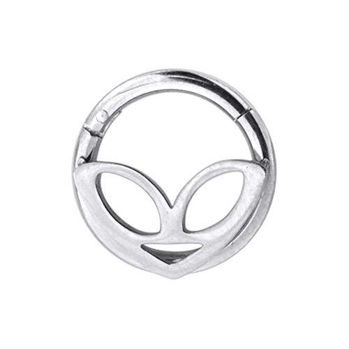 Fantasie masker - Alien gezicht 16 gauge 316L chirurgisch staal clicker inklapbaar segment ring piercing sieraden