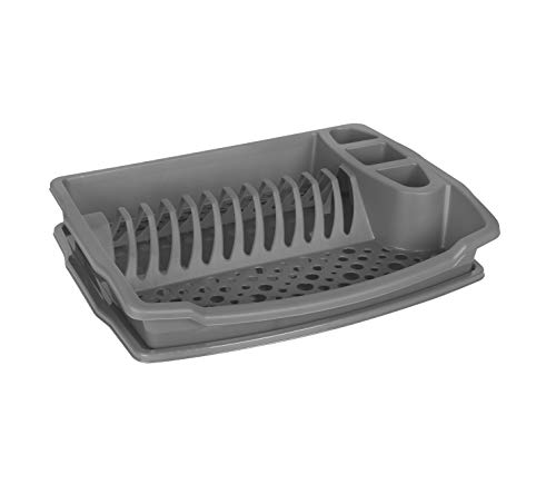 Large Plastic Dish Drainer With Drip Tray Draining Rack Plate Cup Cutlery Rack Holder Dish Dryer Rack Kitchen Sink Washing Storage (Grey)