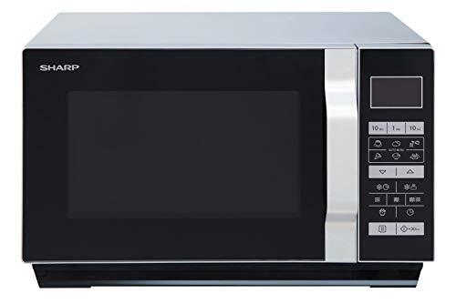 Sharp R660S - Microondas 2 en 1 (800 W, 20 L, 5 niveles de potencia, 8 programas automáticos AutoCook con programa de palomitas, horquilla plana (sin plato giratorio), color negro y plateado