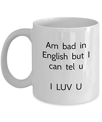 N\A Divertida Taza de gramática en inglés - I Luv u - Coffee Tea Cup (White)