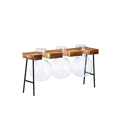 Cuasting glazen fles vaas hydroponische plant transparante vaas houten frame koffie winkel kamer Decor tafel bureau decoratie vaas (drie vaas)