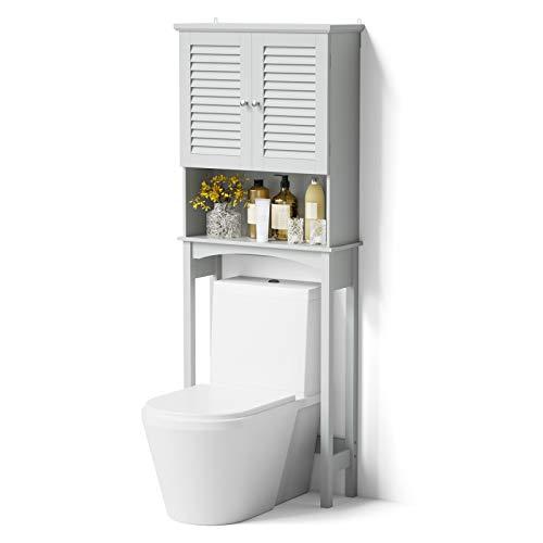 SRIWATANA Over The Toilet Storage, Bathroom Cabinet Organizer Shelf Space Saver with Adjustable Rack - Grey