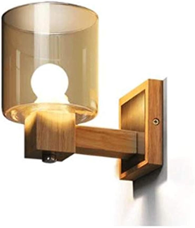 LQ Wandleuchte Einfache Kreative Garten Schlafzimmer Spiegel Scheinwerfer Bett Glas Holz Wandleuchte Balkon Wandleuchte Gang Wandleuchte