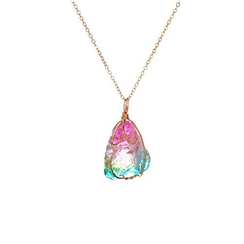 AMOZ Collares para Mujer Amp, Colgantes, Colgante de Cristal para Mujer, Colgante de Cadena...