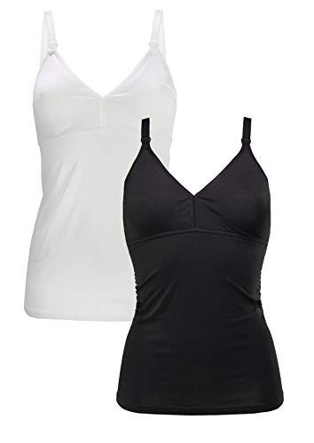 Herzmutter Stilltop-Stillshirt-Unterhemd für Damen - einfache Stillfunktion - integriertes Bustier-BH mit Clip-Verschlüssen - hochwertiger Baumwoll-Mix - 1er & 2er-Set - 5420 (L, Schwarz/Weiß)