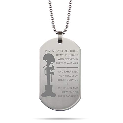 168 GIFTS in Memory of Vietnam Veterans Dog Tag Necklace - Dogtag Birthday Stainless Steel Bracelet Gift for Veterans Iowa