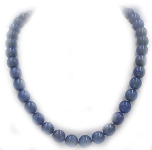 Collar azul calcedonia mm. 10 con cierre de plata 95 longitud 43 cm