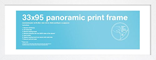 GB eye LTD Eton - Cornice di stampa panoramica, Legno MDF, Bianco, Per foto 33 x 95 cm