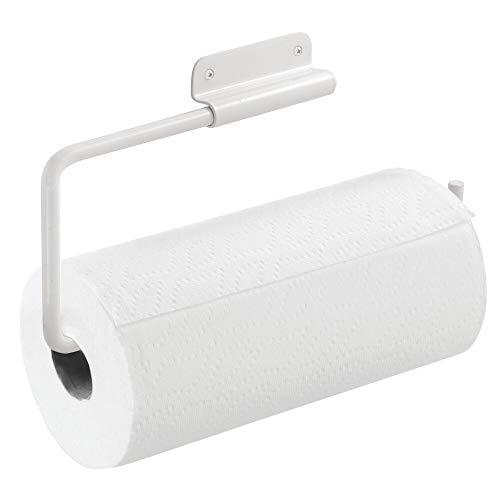 mDesign Portarotolo cucina in metallo – Perfetto e pratico porta rotolo per la cucina – Portarotolo da parete o anta per rotoli di carta cucina – bianco