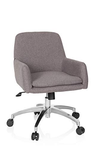 hjh OFFICE 670957 Retro Sessel Shake 400 Stoff Hellgrau Bürosessel, Jugenddrehstuhl mit Rollen, höhenverstellbar