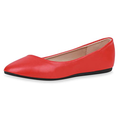 SCARPE VITA Damen Klassische Ballerinas Leder-Optik Schuhe Slipper Freizeitschuhe Slip On Flats Flache Abendschuhe 188404 Rot Red 36