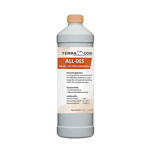 TerraDomi All-Des 500 ml + 250ml Sprühflasche (leer), Konzentrat für Hände und Flächendesinfektion (bis zu 5 Liter Fertiglösung), zugelassen in der EU, Made in Germany, Haccp-, QS- und Biokonform