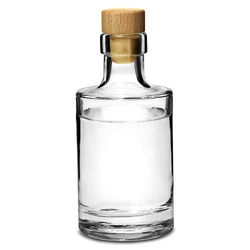 Galileo Flint Glass Bottle with Cork 7oz / 200ml - Set of 4 - Glass Bottle for Home Made Sloe Gin