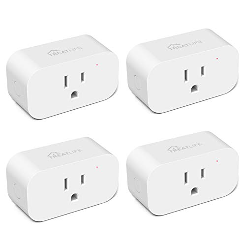 Smart Plug 4 Pack, Treatlife 7 Day Heavy Duty Programmable Timer, Works with Alexa and Google Assistant, 1800W 15A Smart Home WiFi Outlet, Child Lock, Away Mode