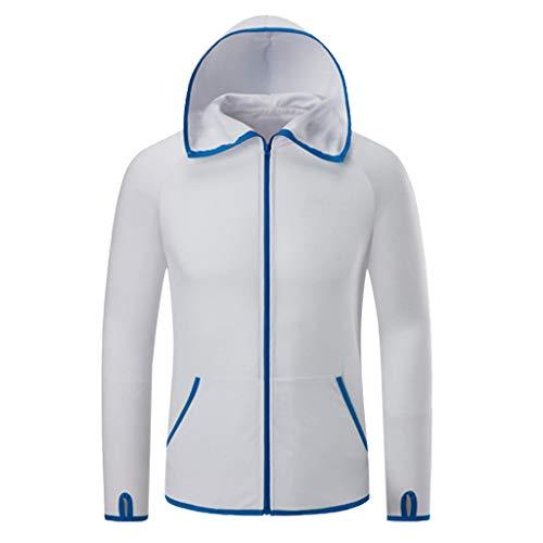 Deloito Herren Windbreaker Damen Draussen Regenjacke Schnelltrocknend Antifouling Eisseide Ultra dünn Angelanzug Sonnencreme Wasserdicht Mantel (Weiß,XXXX-Large)