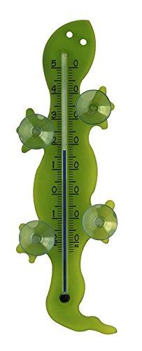 TFA Dostmann Gecko analoges Fensterthermometer, Außentemperatur, Montage mit Saugnäpfen, Gecko-Design