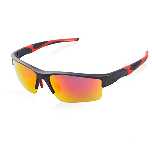 Avoalre Sportsonnebrille Sportbrille Verspiegelte Fahrradbrille Winddicht Sportsonnenbrille Herren, Fahrerbrille Skibrille Snowboard Brille Verspiegelt Schneebrille-Rot