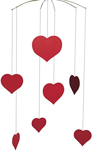 Happy Hearts (Valentine) Hanging Mobile - 16 Inches Plastic - Handmade in...