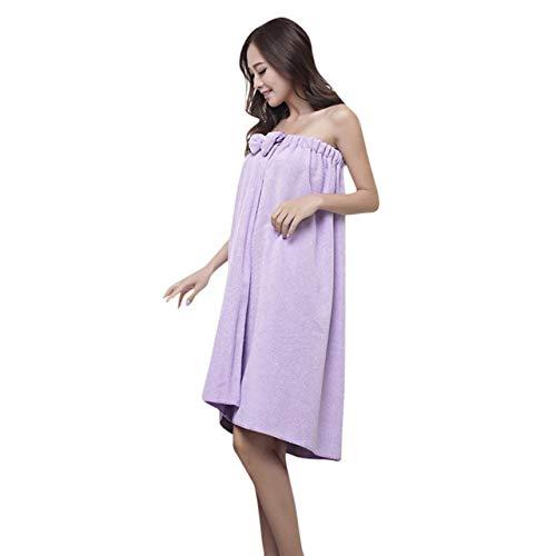 Xiaobing Albornoz de Microfibra Absorbente con Top de Tubo para Mujer, Suave Viaje a casa, púrpura, C6