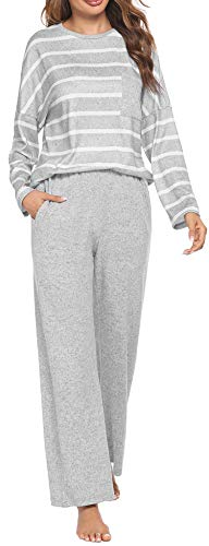 Meaneor Schlafanzug Damen Langarm Pyjama Set Baumwolle Zweiteilige Nachtwäsche Langarm Hausanzug Gestreift Sleepwear Hellgrau S