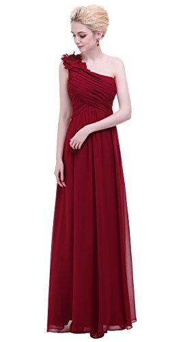 Bislu Flowers One Shoulder Long Prom Party Bridesmaids Dress Burgundy 4