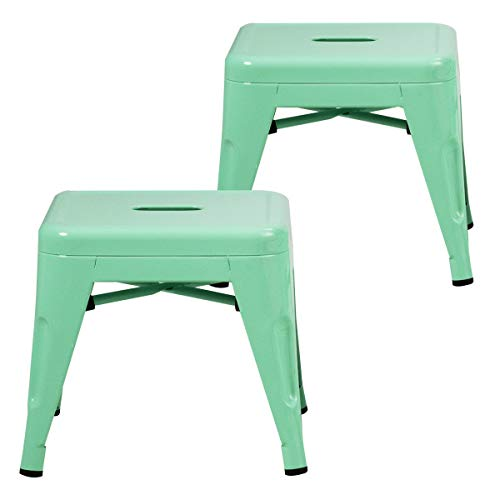 Costzon Kids Stackable Metal Stools w/Safety Rounded Corners & Rubber Pads, Children Portable Steel Stools for Kindergarten School Classroom, Toddlers Stepping Stool for Kitchen (Green, Set of 2)