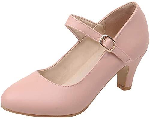 LUXMAX Damen Mary Jane High Heels Pumps mit Kleinem 5cm Absatz Schnalle Blockabsatz Schuhe Rosa 41
