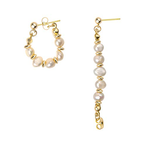 Pearl Hoop Earring Handmade Culture Barque Vintage Dainty Circle Dangle Geometric Hypoallergenic 18K Gold Plated Jewelry for Women