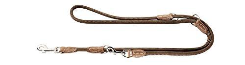 HUNTER Round and Soft Hunting Verstellbare Führleine für Hunde, rund, Leder, weich, robust, 1,0 x 200 cm, braun