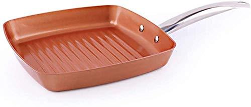 Sartén de cobre para freír, sartén cuadrada antiadherente, sartén con mango de acero inoxidable, cocina de inducción segura, 24 cm (9,44 pulgadas), cobre