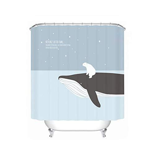 HOT-house Ours de Baleine de Bande dessinée imprimé Rideau de Douche Rideau de séparation de Toilette en Polyester imperméable Rideau de Salle de Bain avec Crochets décor à la maison-1-W150xH180cm