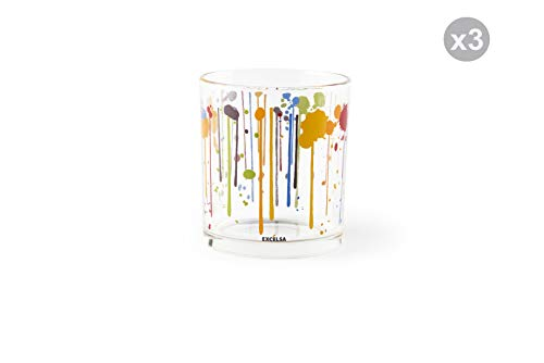 Excelsa Dripping - Juego de 3 vasos de agua, cristal