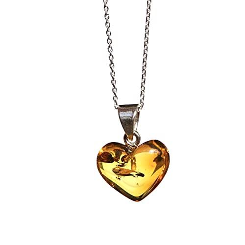 Collar de cadena de plata de ley 925 de 18 pulgadas con colgante de corazón de ámbar