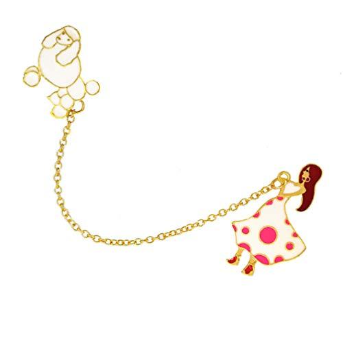 LUOEM 2 Piezas Cadena de Broche Cadena de Ramillete Diseño de Perro Solapa Pin Collar Cadena para Hombres Mujeres Niña Camisa