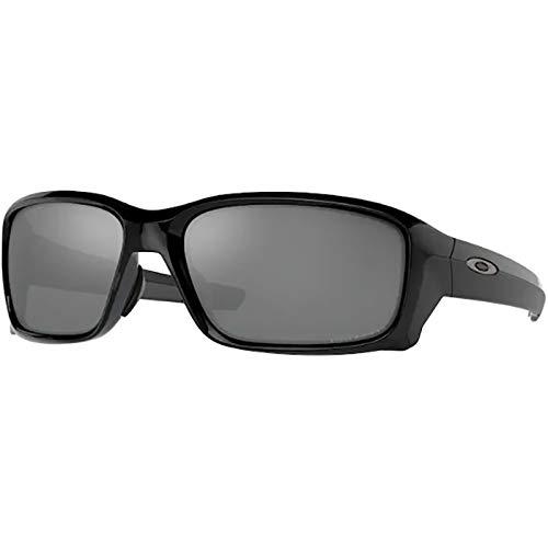 Oakley Men's OO9336 Straightlink Asian Fit Rectangular Sunglasses, Polished Black/Prizm Black Polarized, 61mm