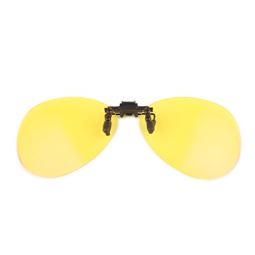 Gudzws Anti Blue Light Blocking Clip on Attached to Myopia Glasses Aviator frame
