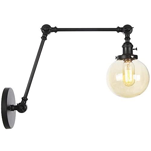ZCZZ Lámpara de Pared Industrial para Interiores, lámpara de Noche Ajustable para Dormitorio, lámpara de Pared con Brazo oscilante con Interruptor, iluminación de Lectura para Sala de Estar, Vent