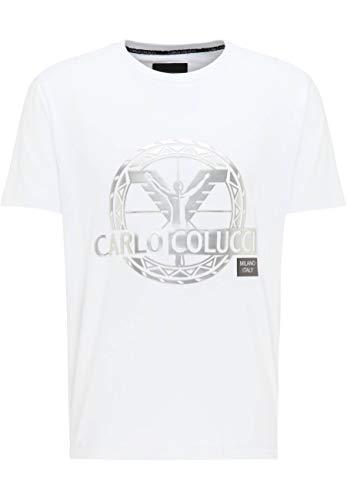 Photo of Carlo Colucci Silver 3D Logo T-Shirt – White – White – Small