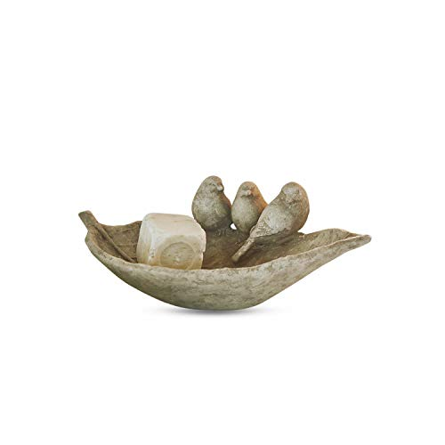 Loberon Schale Jolanda, Polyresin, H/B/T ca. 9/26 / 16 cm, antikbraun
