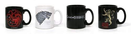 Game of Thrones Espresso- Tassenset 4 Espressotassen aus Keramik: Targaryen, Stark, Logo, Lannister.