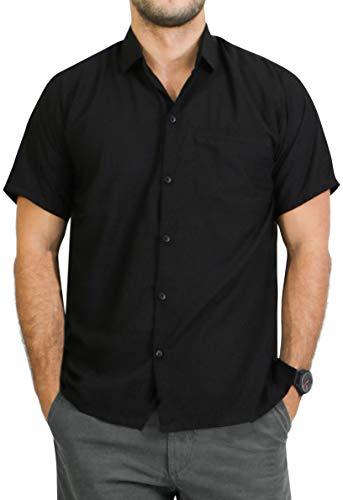 LA LEELA Casual Oficina Camisa Hawaiana Manga Corta Bolsillo