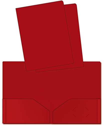 Heavyweight Plastic 2 Pocket Portfolio Folder, Letter Size Poly Folders by Better Office Products, 24 Pack (Red)