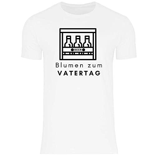 Print Dynastie Camiseta para Hombre Father's Day Gift Idea Daddy Padre Regalo Padre de Familia Idea de Amor, Tamaño:XS, Color:Blumen Zum Vatertag White