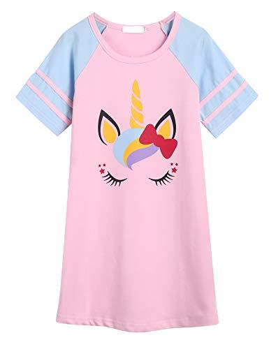 Bricnat Mädchen Nachthemd Kinder Kurzarm Baumwolle Nachtwäsche Rundhals Nachtkleid Einhorn Drucken Nachtkleider Rosa 150