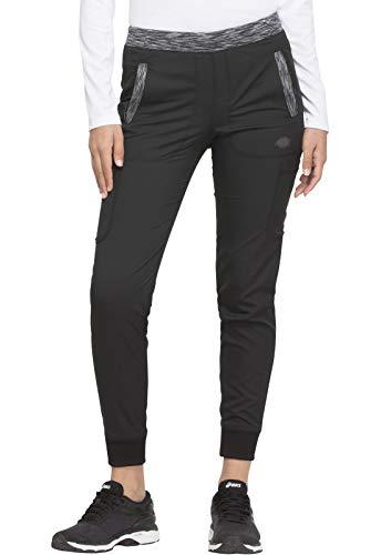 Dickies Dynamix Women Scrubs Pant Natural Rise Tapered Leg Jogger DK185, L, Black