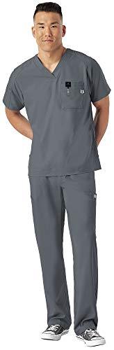 WonderWink W 123 Men's Medical Uniforms Scrub Set Bundle- 6355 V-Neck Scrub Top & 5355 Elastic Waist Cargo Pants & MS Badge Reel (Pewter - XXX-Large/XXL Short)