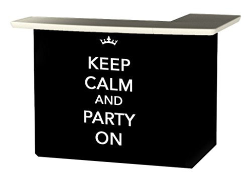 Best of Times 2000W2505 Keep Calm and Party ON Portable Patio Bar Table, One Size, L-Shaped, Black