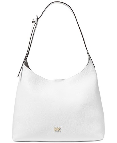 MICHAEL Michael Kors Junie Medium Leather Shoulder Bag - Optic White